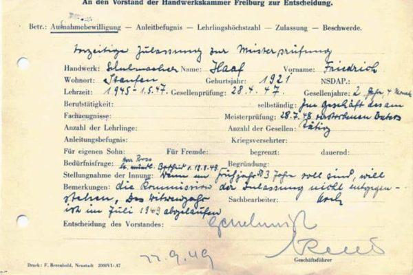 Ausnahmebewilligung zur Meisterprüfung von Fritz Haaf