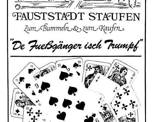 """Das Kunden-Gutscheinspiel """"De Fueßgänger isch Trumpf"""" 1984"""