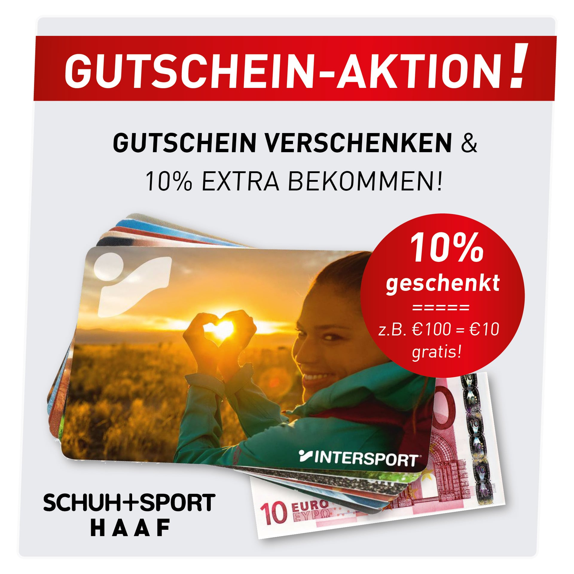 Gutschein-Aktion: 10% gratis dazu!