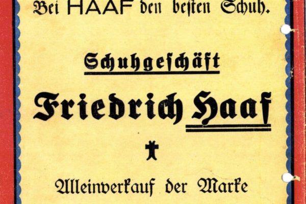Anzeige Schuhgeschäft Friedrich Haaf